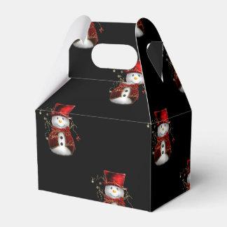 Cute Red Snowman Christmas Favor Box