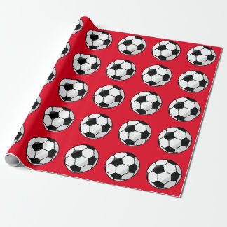 Cute Red, Soccer Wrapping Paper