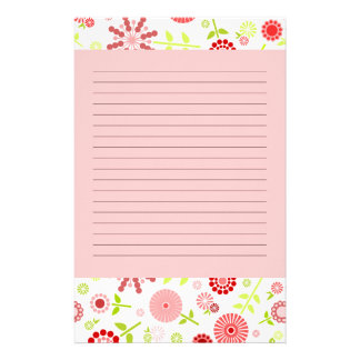 Cute red spring flowers customized stationery