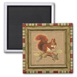 Cute Red Squirrel On Faux Jute Burlap Square Magnet