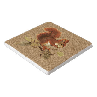 Cute Red Squirrel On Faux Jute Burlap Trivet