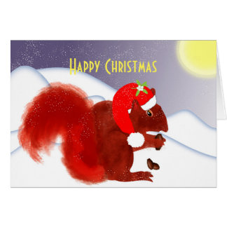 Cute Red Squirrel Personalized Christmas Card