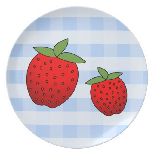 Cute Red Strawberries on Blue Check Background Party Plate