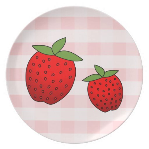 Cute Red Strawberries on Pink Check Background Dinner Plate