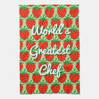 Cute red strawberry custom kitchen towel gift idea