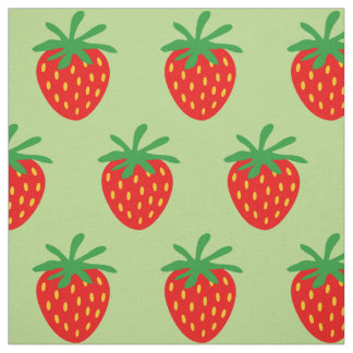 Cute red strawberry pattern DIY textile fabric