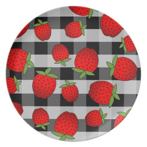 Cute Red Strawberry Print Black Check Background Dinner Plate