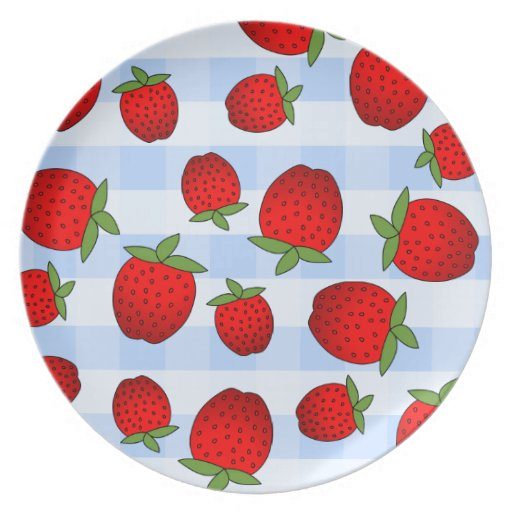 Cute Red Strawberry Print on Blue Check Background Party Plates