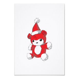 Cute Red Teddy Bear Santa Hat Invitation Stamps