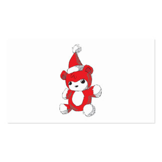 Cute Red Teddy Bear Santa Hat Invitation Stamps Business Card Template