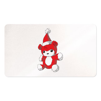 Cute Red Teddy Bear Santa Hat Invitation Stamps Business Card