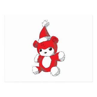 Cute Red Teddy Bear Santa Hat Invitation Stamps Postcard