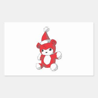 Cute Red Teddy Bear Santa Hat Invitation Stamps Rectangular Stickers