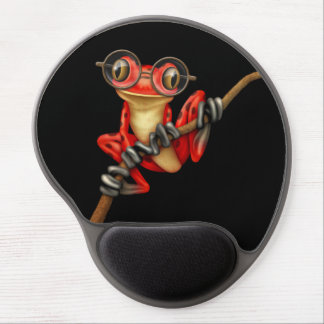 Cute Red Tree Frog with Eye Glasses on Black Gel Mouse Pad