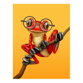Cute Red Tree Frog with Eye Glasses on Yellow Postcard