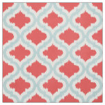Cute red turquoise ikat Moroccan pattern Fabric