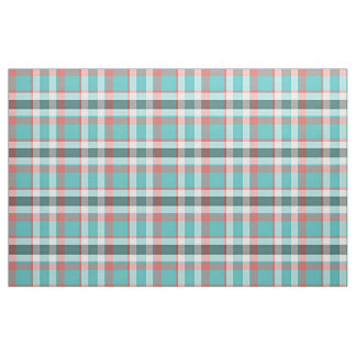 Cute Red Turquoise Retro Chic Tartan Plaid Pattern Fabric