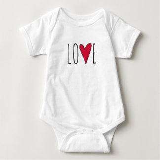 Cute Red Valentines Day Love Heart Typography Baby Bodysuit