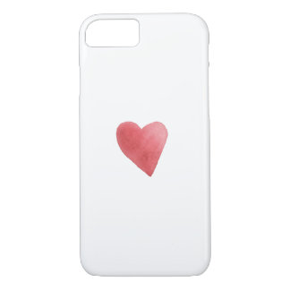 Cute Red Watercolor Heart Romantic Minimalist iPhone 8/7 Case