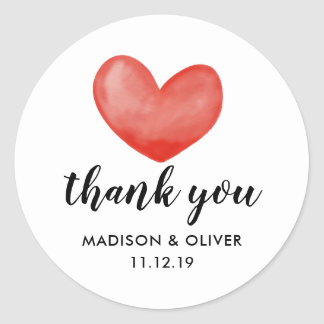 Cute Red Watercolor Heart Valentines Day Wedding Classic Round Sticker