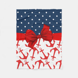 Cute Red, White, and Blue Nautical Fleece Blanket