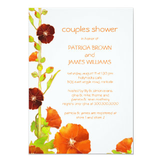 Cute Red + White Floral Couples Shower Card