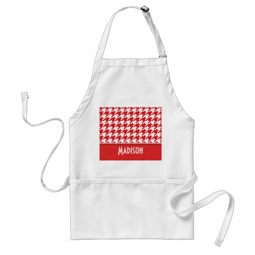 Cute Red & White Houndstooth Apron