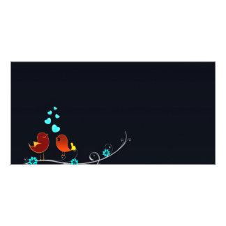 Cute reddish love birds and aqua hearts card