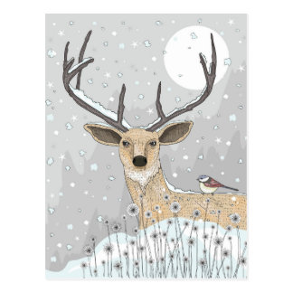 Cute Reindeer And Bird Postcard