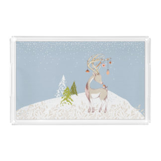 Cute Reindeer and Robin in the Snow Acrylic Tray