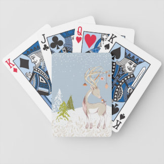 Cute Reindeer and Robin in the Snow Bicycle Playing Cards