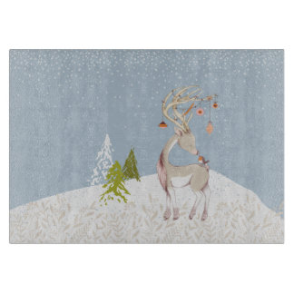 Cute Reindeer and Robin in the Snow Boards
