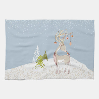 Cute Reindeer and Robin in the Snow Hand Towels