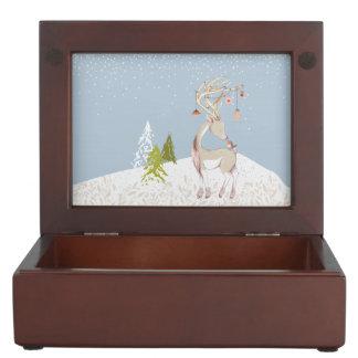 Cute Reindeer and Robin in the Snow Keepsake Box
