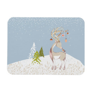 Cute Reindeer and Robin in the Snow Magnet
