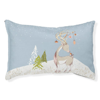 Cute Reindeer and Robin in the Snow Pet Bed