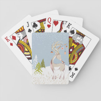 Cute Reindeer and Robin in the Snow Playing Cards