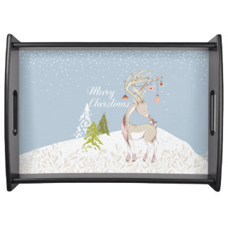Cute Reindeer and Robin in the Snow Serving Tray