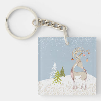 Cute Reindeer and Robin in the Snow Single-Sided Square Acrylic Keychain