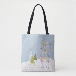 Cute Reindeer and Robin in the Snow Tote Bag