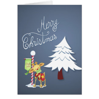 Cute Reindeer at the North Pole Merry Christmas Card