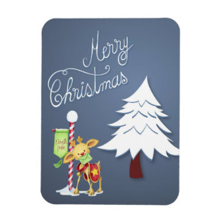 Cute Reindeer at the North Pole Merry Christmas Magnet