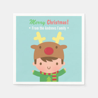 Cute Reindeer Boy Christmas Party Supplies Paper Napkin