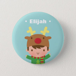 Cute Reindeer Boy Kids Christmas Fillers 2 Inch Round Button