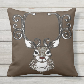 Cute Reindeer brown deer cottage outdoor pillow