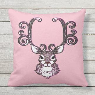 Cute Reindeer brown deer cottage outdoor pink Outdoor Pillow