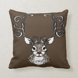 Cute Reindeer brown deer  cottage pillow
