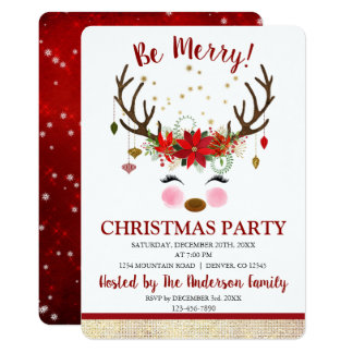 Cute Reindeer Christmas Holiday Dinner Party Card