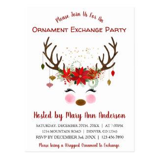 Cute Reindeer Christmas Ornament Exchange Party Postcard
