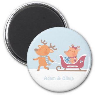 Cute Reindeer Couple on Sleigh Christmas Magnet